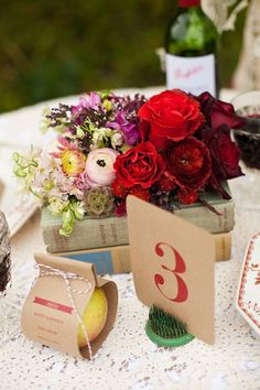 Stunning Flower Inspiration and Wedding Ideas You Should See - love the wedding table number idea and striking red color; HLP Photography