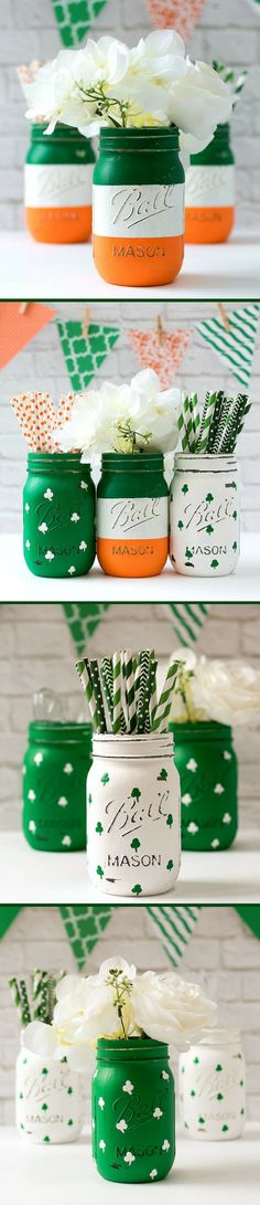 Great for St. Patrick's Day decor and St. Shabby chic and … – Wanderlust Easy Crafts, Diy And Crafts, Crafts For Kids, Easter Activities, Painted Mason Jars, Mason Jar Crafts, Kelly Green, St Patricks Day, St Pats