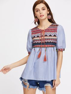 SheIn offers Jacquard Yoke Tasseled Tie Beaded Fringe Trim Babydoll Top & more to fit your fashionable needs. Texas Fashion, Nyc Fashion, Fashion Sale, New York Girls, Beaded Collar, Fringe Trim, Affordable Clothes, Blouse Vintage, Blouses For Women