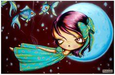 Big Eye-Little Wendy Bird Girl-Peter Pan Fairy Tale-Pinkytoast Art Print-9x6