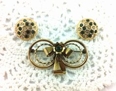 Gold Filled Louis Stern & Co Bow Brooch, Stamped, 1/20 12K GF, Clear and Emerald Rhinestone Earrings on Etsy, $25.00