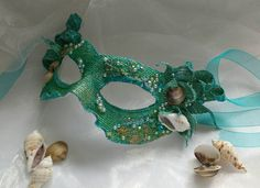 Mermaid #mask sea green mask mask with sea #mermaids #mythical #sea #siren #etsy by MasksbyDebbsElliman
