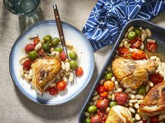 This simple baked chicken packs a ton of flavor atop a nice, toasty mixture of beans, tomatoes, and herbs. Since the chicken cooks on top of the vegetables, its juice add to the sauciness of the … Easy Baked Chicken, Easy Chicken Recipes, Fried Chicken, Whole30, Quick Casseroles, White Bean Recipes, Sheet Pan Suppers, Roasted Chicken Breast, White Beans
