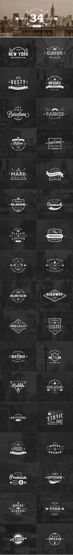 34 Retro Labels Badges