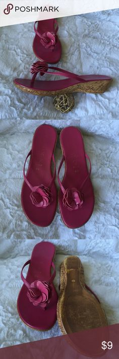 Rose colored low wedge sandals Rose colored low wedge sandals. Gently worn. Italian Shoemaker Shoes Sandals