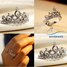 Unique Sparkle Princess Crown Ring Round Dimaond 925 Sterling Silver For Women's #aonejewels #SolitaireWithAccents