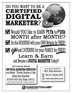 All sizes   RJ Escalona Flyers B&W   Flickr - Photo Sharing! Learn Earn, Own Website, Your Family, Digital Marketing, How To Become, Learning, Flyers, Business, Ruffles