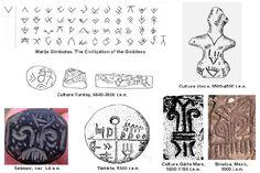 """V""""-uri, căpriori (chevron) - Emblema zeiţei pasăre, derivată probabil din triunghiul feminin. Ca semn, """"V""""-ul există deja în paleoliticul superior; ca emblemă a zeiţei-pasăre este atestat din neoliticul timpuriu şi continuă în fazele ulterioare."""