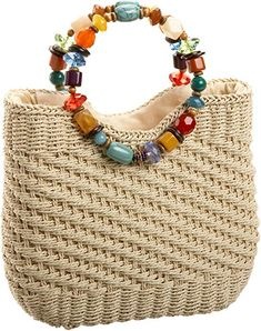 """New Cheap Bags. The location where building and construction meets style, beaded crochet is the act of using beads to decorate crocheted products. """"Crochet"""" is derived fro Crochet Tote, Crochet Handbags, Crochet Purses, Bead Crochet, Straw Handbags, Macrame Bag, Boho Bags, Craft Bags, Beaded Bags"""