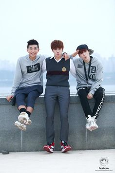 bangtan's official twitter update with rapmon, jin, and suga