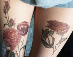 SALE ! 50% Roses Tattoo tights, tattoo leggings HAND PAINTED free shipping