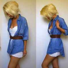 A cute denim shirt outfit. Also check out...
