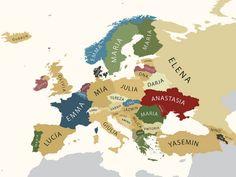 Nomes máis habituais por países (mulleres)