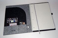 DIN A4 - A4 Schreibmappe,Organizer aus Filz,bestickt - ein Designerstück von Manufaktur-Anlauf bei DaWanda