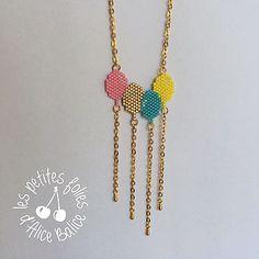 Tuto et diagramme diy gratuit pour réaliser un sautoir ballon en perles avec la technique du brick stitch