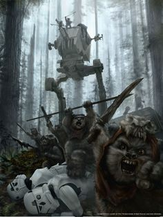 Ewoks at the Battle of Endor by Chris Scalf Can you see why I'm scared of them now?