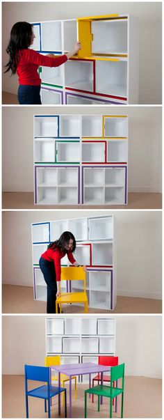 A bookcase with built-in dining table and chairs