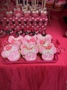 Minnie Mouse Birthday Party cookies!  See more party planning ideas at CatchMyParty.com!