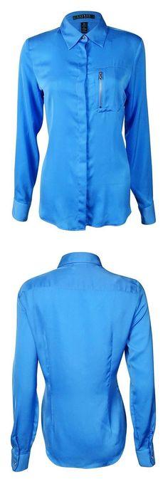 $49.99 - Lauren Ralph Lauren Women's Zip Pocket Buttoned Shirt Blue #ralphlauren