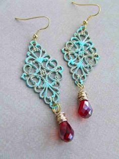PATINA DANGLE Red Teardrop Crystal by redbetty on Etsy, $15.50