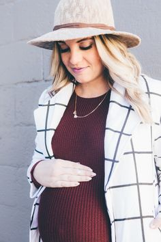 Sweater dress and long line black and white coat. Maternity outfit from www.theredclosetdiary.com || jalynnschroeder