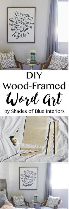 """How to make wood-framed word art out of 1x2s and 1/4"""" plywood. Can be customized to any size and free printable of Jack Johnson lyric word art included."""