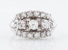 Vintage Right Hand Ring Mid-Century .94cttw Round Brilliant Cut Diamonds  in 14k White Gold-Minneapolis, MN www.filigreejewelers.com