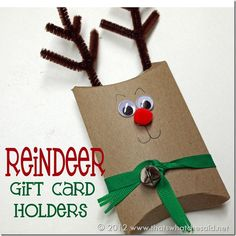 Reindeer Gift Card Holders from pillow boxes!  So much more fun than just giving a gift card by itself!  #giftwrap #christmas
