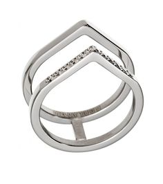 Valley ring, stainless steel Featuring 14 Cubic Zirconia gemstones on the one ridge 10mm wide