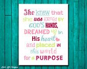 She knew that she was formed by Gods hands and placed in this world for a purpose. Christian Decor. Children's Wall Art. Girl Wall Decor.