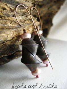 orecchini rame e perle di fiume, folforming