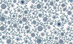 Nora (734-46) - Sandberg Wallpapers - A pretty William Morris inspired delicate floral trail, with stylized blooms.  Shown in the fresh blue on white with silver highlights. Please ask for sample for true colour match.