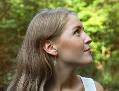 Green prehnite drop earrings by Rosehip Jewelry on Etsy