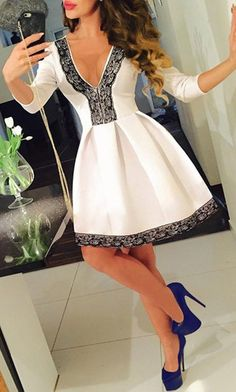 44f56a3478 awesome Sexy Plunging Neck Sleeve Lace Spliced Pleated Mini Dress For Women