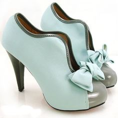 Fancy - Aqua and grey ankle platform boots with bow