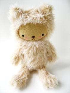 Kawaii Teddy Bear Plushie Blonde Plush Faux Fur by bijoukitty