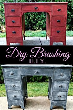 """PIN NOW TO READ LATER! Do you have a piece of furniture that is old, outdated, or just doesn't fit with your decor?  A dresser, desk, side table, etc?  Here's a super awesome way to update it and make it your own.  Its a technique called """"Drybrushing"""", and can turn this...into this ^"""