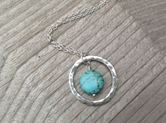 Sterling Silver Eternity Circle & Turquoise Necklace
