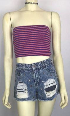 6913cf7e87 Vintage 70s 80s Crop Tube Top Bustier Stripe Knit Bralet Boho Party Free  Size  Unbranded  tubetop  any
