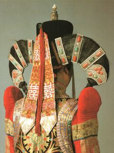 Halh (Mongolia) married woman's outfit.  {lovely headdress}