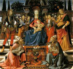 Domenico Ghirlandaio (Domenico Bigordi), 1449-1494, Italian, Madonna and Child Enthroned with Saints, c.1483. Tempera on wood, 191 x 200 cm. Uffizi Gallery, Florence. Early Renaissance.