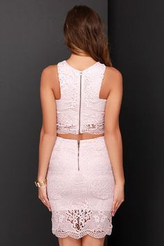 Chic Blush Pink Dress - Two Piece Dress - Lace Dress - $59.00
