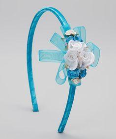 Look what I found on #zulily! Aqua Flower & Ribbon Headband #zulilyfinds
