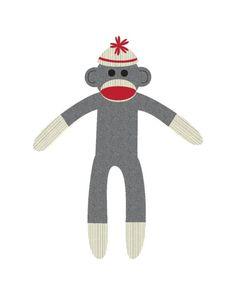 printable sock monkey note cards