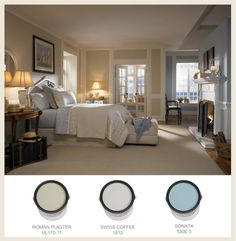 This serene bedroom features Behr's Swiss Coffee, a customer favorite!