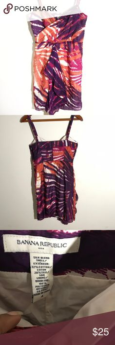 {Banana Republic} Tropical Sleeveless Dress Pretty Banana Republic Sleeveless purple and orange silk blend dress in great condition. Size 4. Banana Republic Dresses