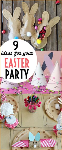 9 Easter Party Ideas. Creative ways to celebrate Easter with kids. Kids table must haves for the holiday. Mini bunny pints, party hats and Easter decor for a perfect feast and celebration. Homemade ideas for your Easter bash.