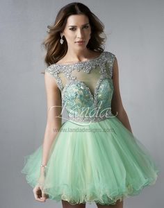 Splash Mint Layered Tulle Cocktail Dress with   Beaded Illusion Top and Low Back #homecoming2014 #bling #illusion