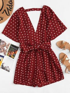 Shop Polka Dot Self Tie Waist Romper online. SHEIN offers Polka Dot Self Tie Waist Romper & more to fit your fashionable needs. Trendy Outfits, Cool Outfits, Fashion Outfits, Fashion Women, Fashion Trends, Fashion Black, Fashion Fashion, Fashion Ideas, Vintage Fashion
