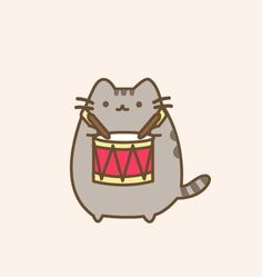 Pusheen the drummer by munchkinsaysmeow.deviantart.com on @DeviantArt